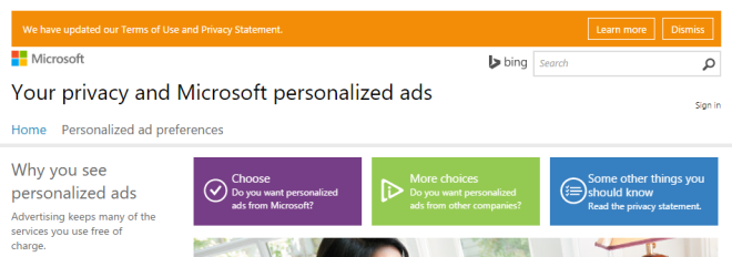 personalised ads settings
